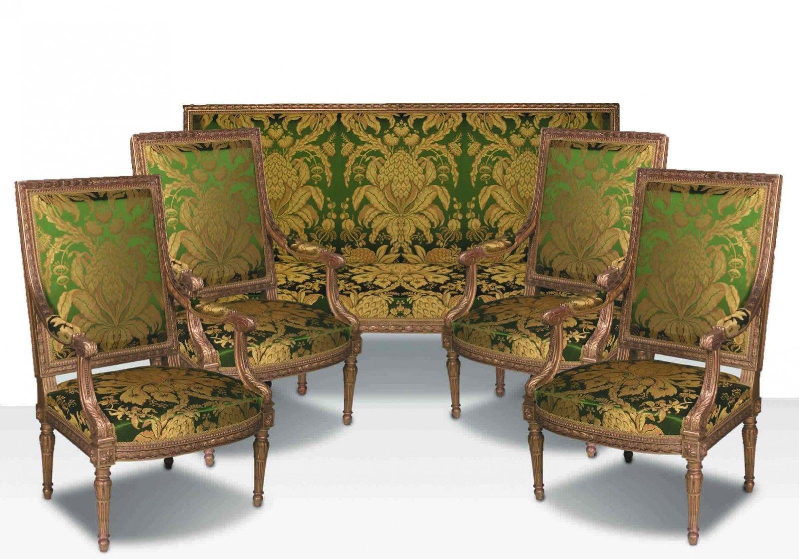 Mobilier de salon de style louis xvi par maison jansen compos de quatre fauteuils la reine et - Salon louis xvi ...