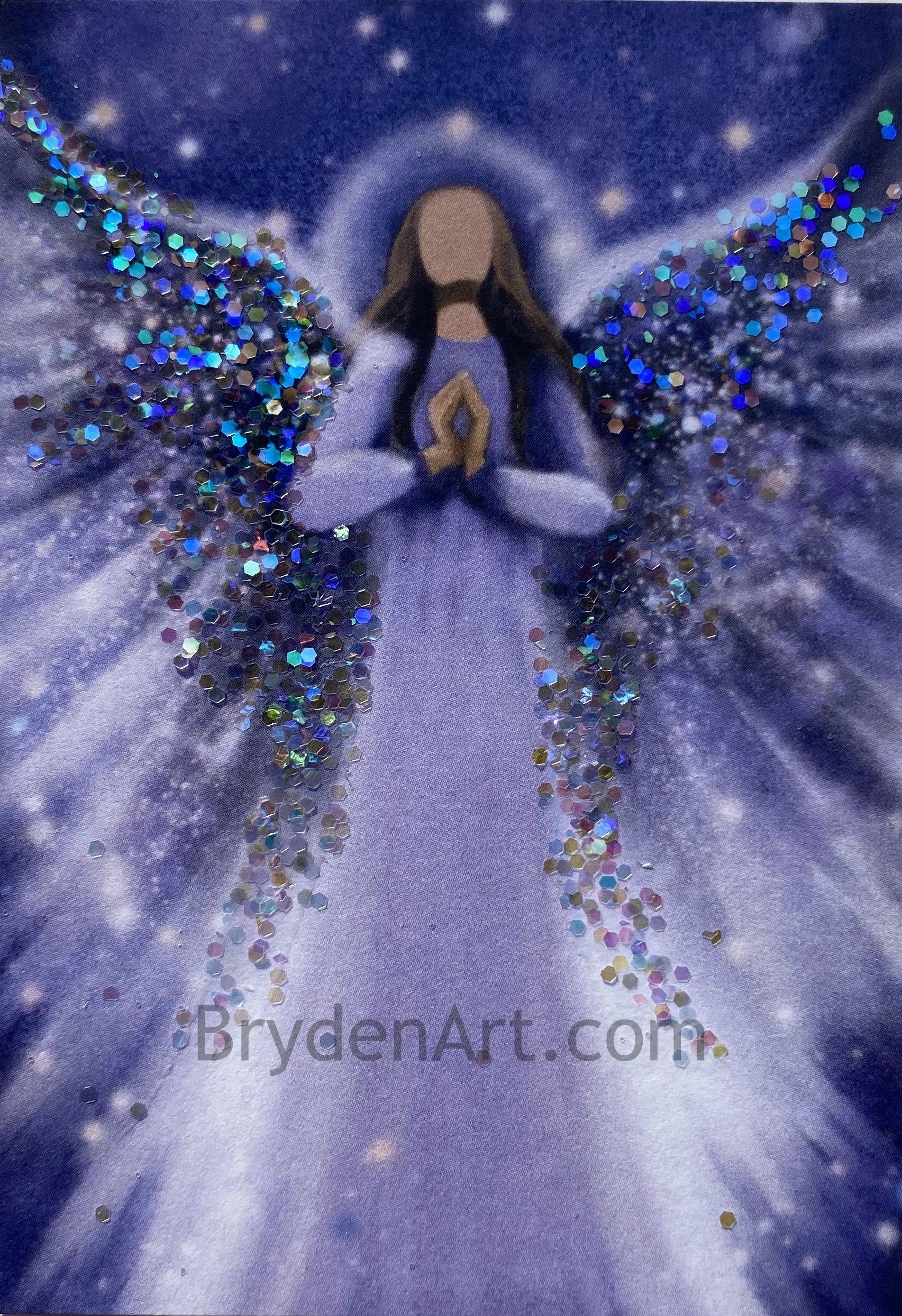 Glittered PRINT ACEO Angel Miniature Spiritual Inspirational CapeCodArtist