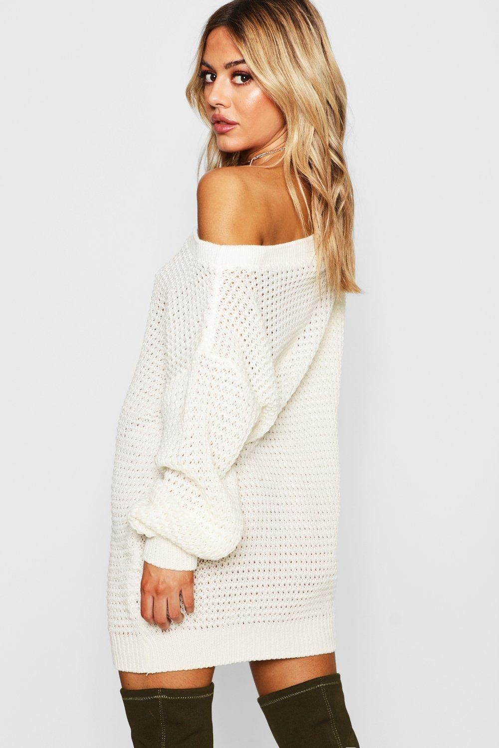 Petite Waffle Knit Off The Shoulder Sweater Dress Boohoo Sweater Dress White Sweater Dress Outfit Petite Outfits [ 1500 x 1000 Pixel ]