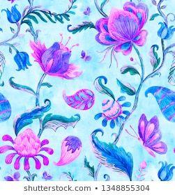 Paisley watercolor floral pattern tile: flowers, flores ...