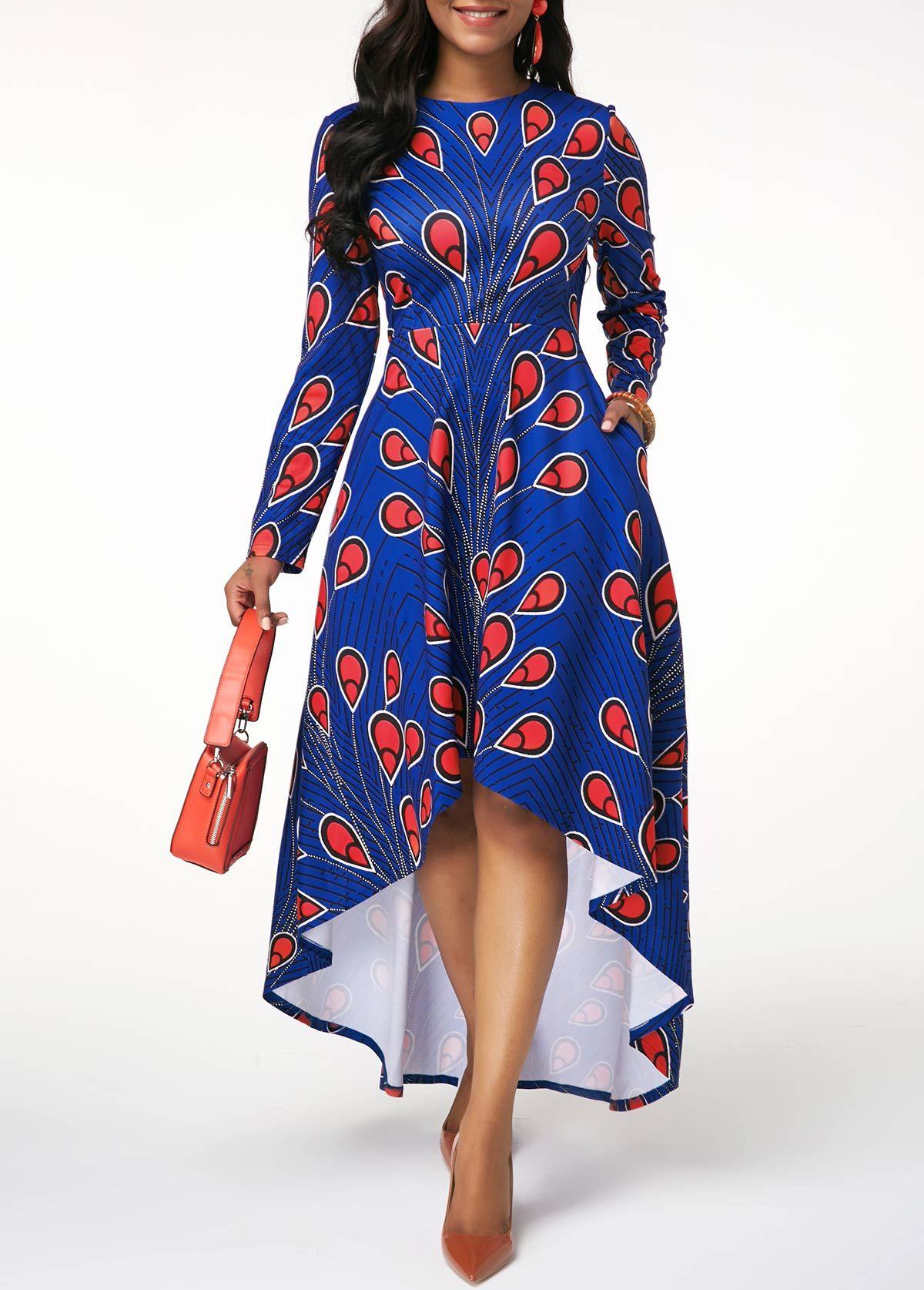 Zipper Back High Waist Printed Dress Rosewe Com Usd 29 50 Long Sleeve High Low Dress High Low Dress Dresses [ 1674 x 1200 Pixel ]