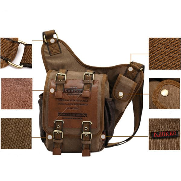 KAUKKO Men Retro Canvas Travel Shoulder Chest Messenger Bag