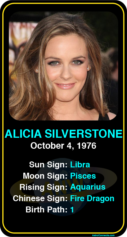 Celeb Libra Birthdays Alicia Silverstone S Astrology Info Sign Up Here To See More Www Astroconnec Alicia Silverstone Aquarius Aesthetic Boyfriend Pictures