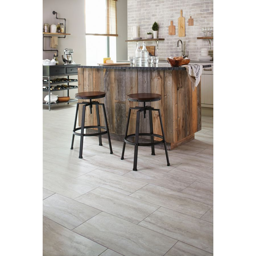 Shop Stainmaster 12 In X 24 In Groutable Oyster Travertine White Peel And Stick Travertine Luxury Vinyl Tile At Lowes Luxury Vinyl Tile Vinyl Tile Luxury Vinyl
