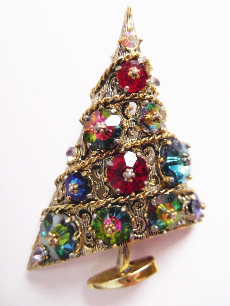 c8c1a5d0fd2 Vintage Signed WEISS Christmas Tree Brooch Pin with Rivoli Stones A BOOK  PIECE! #Weiss