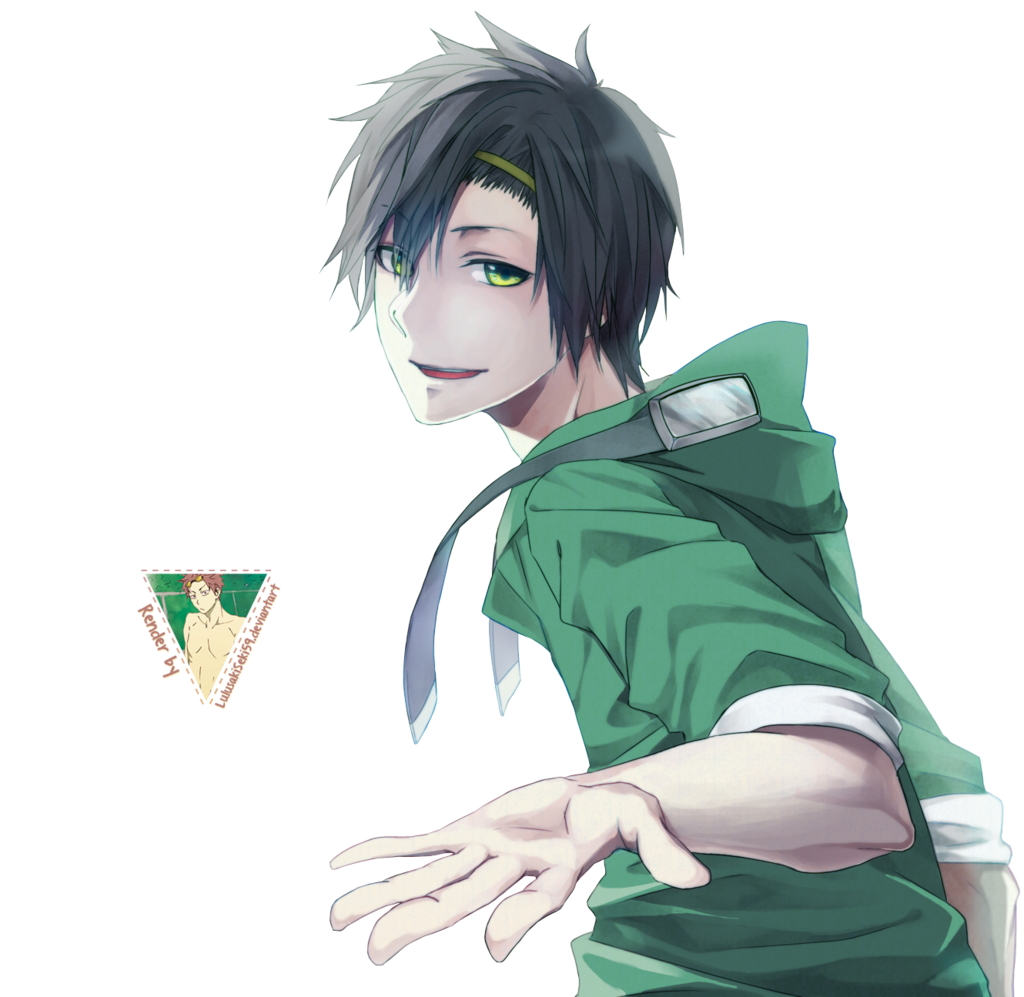 Render 24 Black Hair Green Eyes Anime Boy Cartoon Art