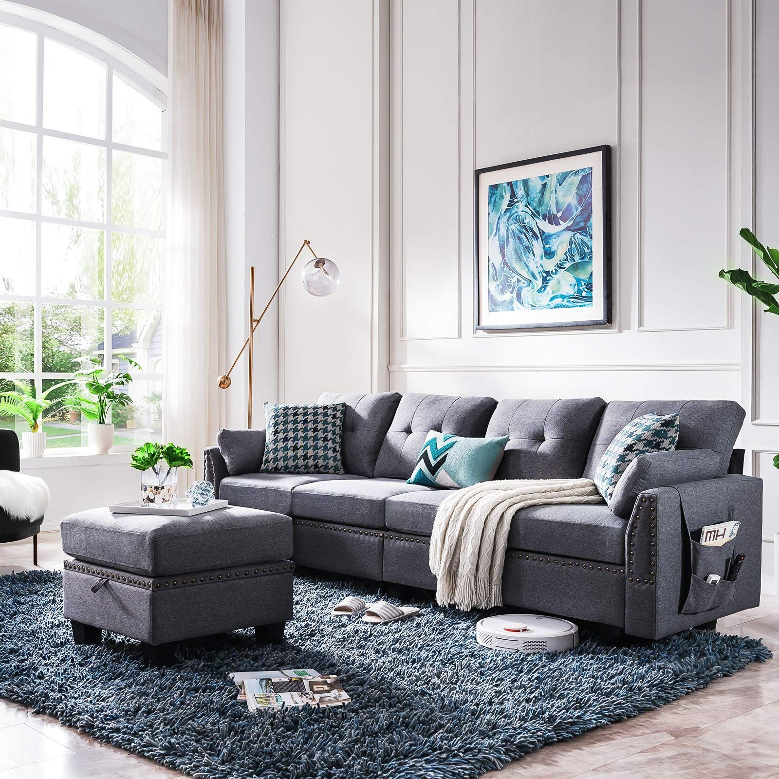 Amazon Com Honbay Reversible Sectional Sofa Couch For Living Room L Shape Sofa C In 2020 Grey Couch Living Room Dark Grey Couch Living Room Dark Grey Sofa Living Room