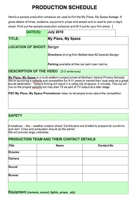 Sample Production Schedule Template Check Out Additional Video