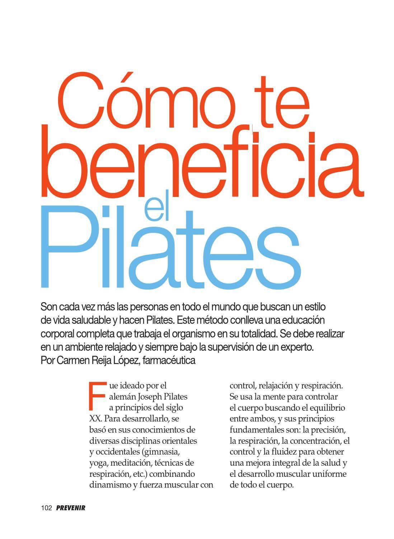 """Entrevista ECP en PREVENIR  La revista Prevenir publica un artículo sobre los beneficios de Pilates y entrevista  a los responsables de """"El Centro Pilates"""" de A Coruña."""