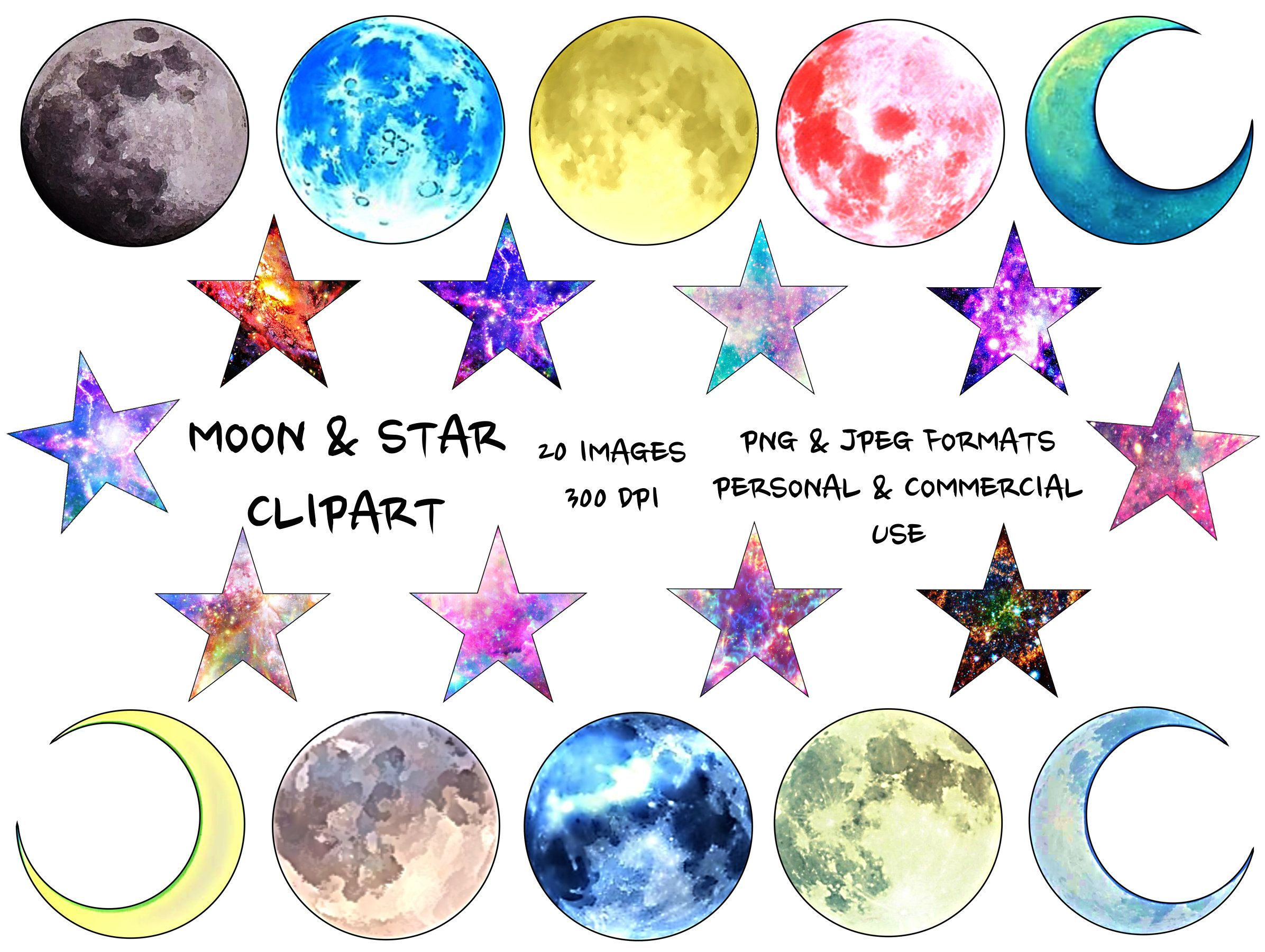 Moon And Stars Clipart Moon Png Stars Png Galaxy Clipart Etsy Star Clipart Watercolor Moon Clip Art