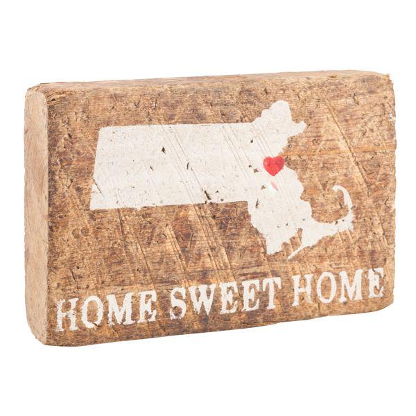 Antique White Massachusetts Silhouette Block - Antique White Massachusetts Silhouette Block Reclaimed Wood