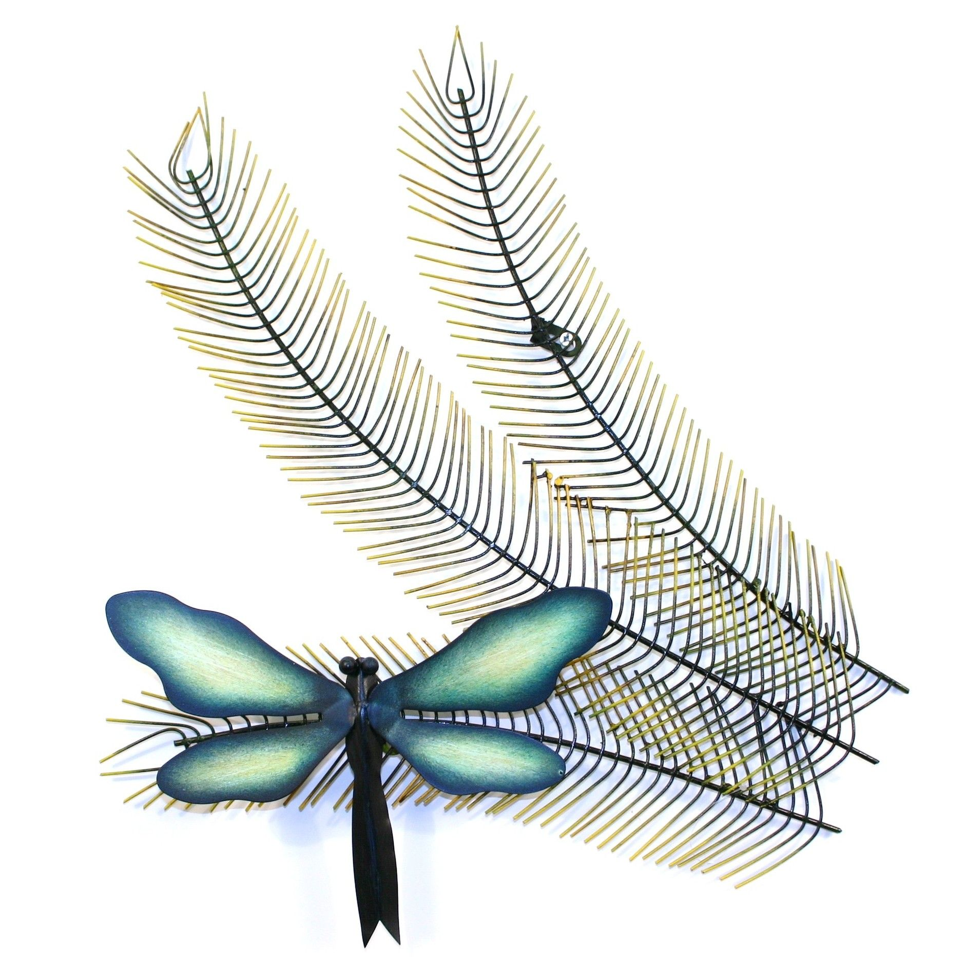 Dragonfly wall decor dragonfly fern contemporary metal
