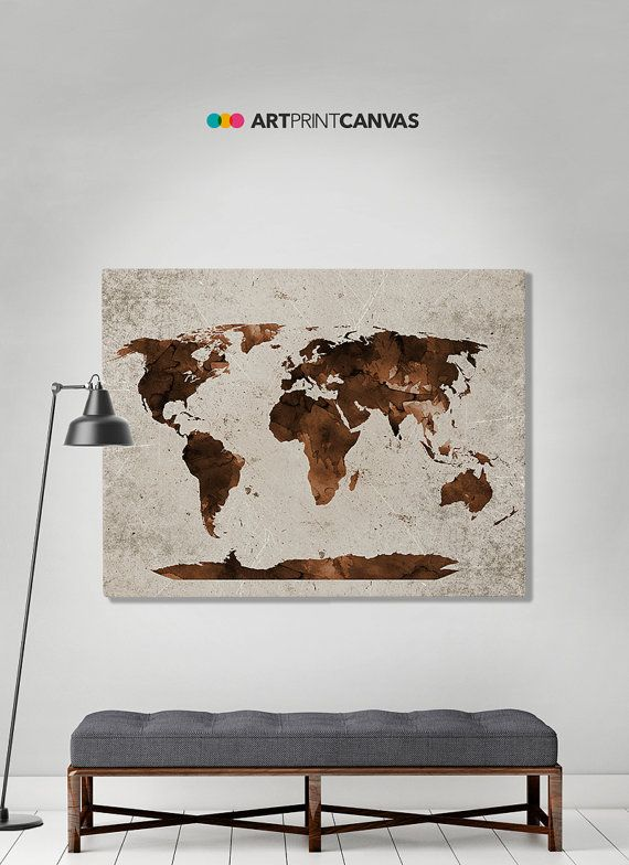 Large world map vintage style map map poster world map vintage world map watercolor canvas print travel map by artprintcanvas gumiabroncs Choice Image
