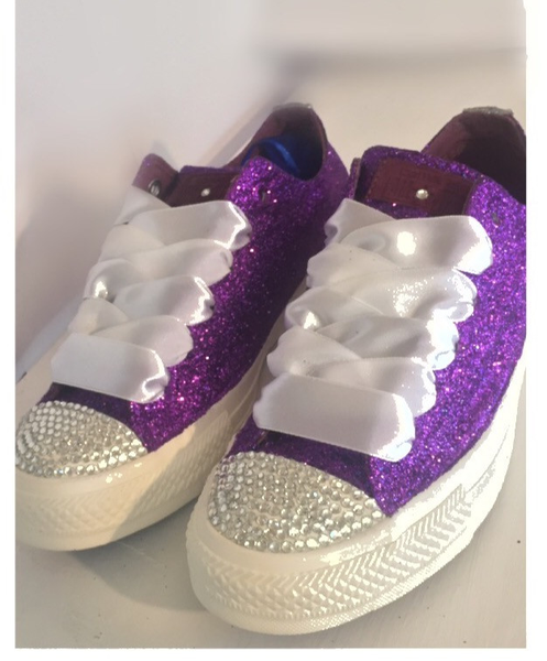 Womens Glitter Bling Crystals Converse All Stars Purple Bride Wedding  bridal shoes Prom sneakers 3942eac83e5e