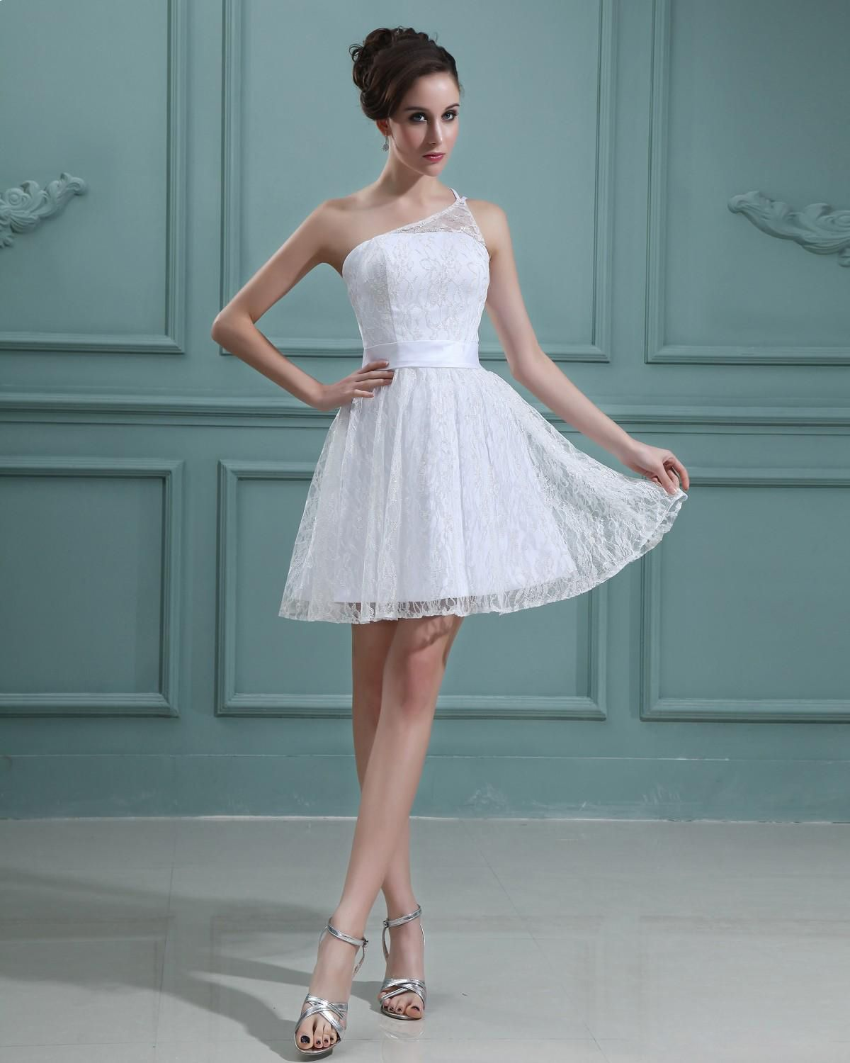 One Shoulder Sleeveless Lace Short Mini Wedding Dress A-line ...