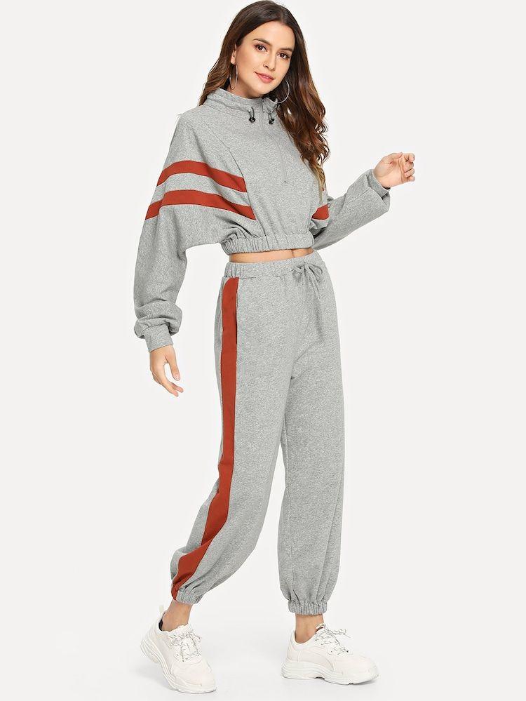 Sudadera Panel En Contraste Con Cremallera Cuarta Con Pantalones Con Cordon Outfits With Leggings Quarter Zip Sweatshirt Drawstring Pants