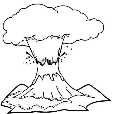 Volcán en Erupción Dibujo para colorear   Juana leyva   Pinterest ...