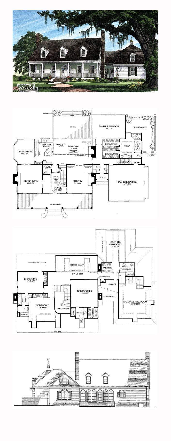 5 master bedroom house  Plantation House Plan   Total Living Area  sq ft