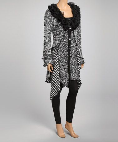 Take a look at this Black & White Ruffle Collar Asymmetrical Silk-Wool Blend Cardigan by Pretty Angel on #zulily today!