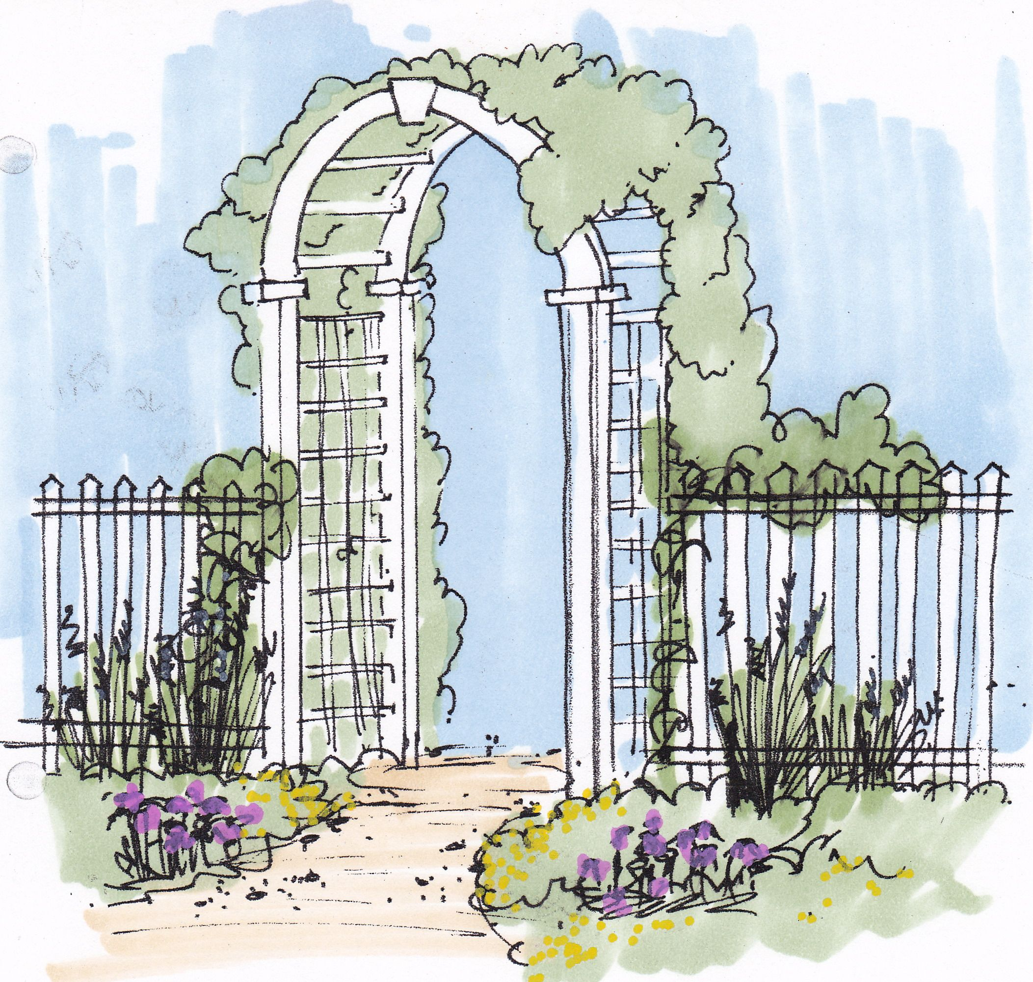 Curved Gate And Fence Concept Compare To Finished Photo That I Designed While Working At Cascade Commercial Landscape Design Cascade Design Landscape Design