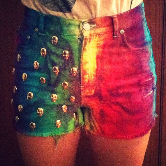 Rainbow Tie Dye High Waisted Shorts with Skull Studs- i dont know why, but i'm obsessed.