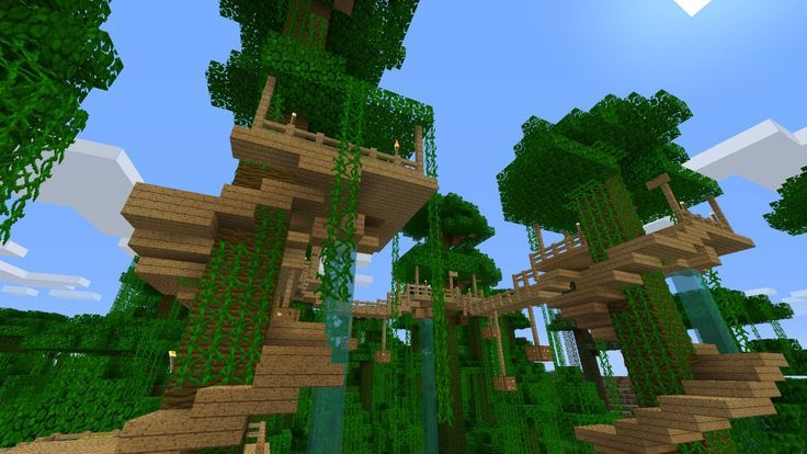 Jungle Tree House Survival Minecraft Project Minecraft Jungle House Cool Tree Houses Minecraft Houses Survival