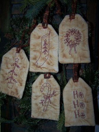 Holiday Redwork Tags
