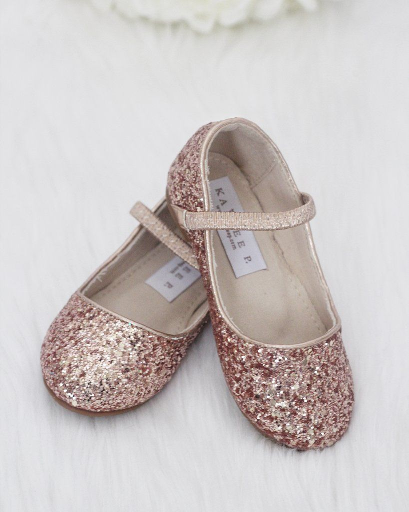 5891e9b634b Girls Shoes ROSE GOLD Rock Glitter Maryjane Ballet Flats