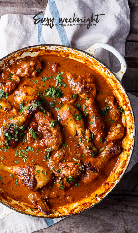 Easy Weeknight Chicken Curry With Cucumber Yoghurt And Roti Crate Recipes Food Recipes Chicken Chickenrecipes Yummy Easy Chicken Curry Curry Recipes Recipes
