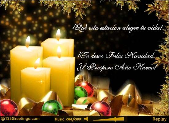 nice merry christmas 2014 and happy new year card - Merry Christmas And Happy New Year In Spanish