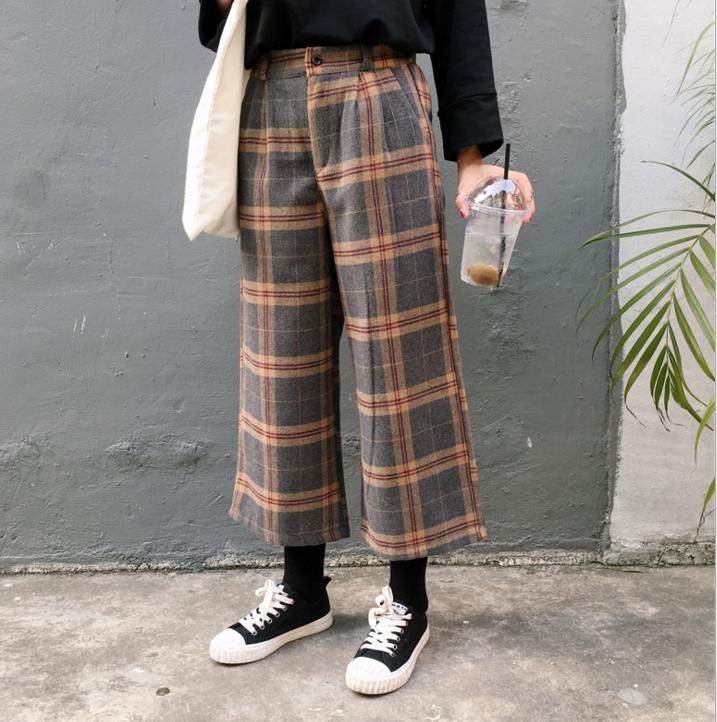 Stripe wide-legged pants