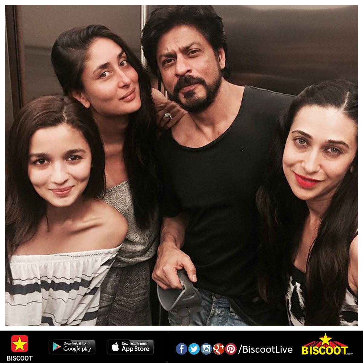 #SRK parties with B-town beauties - #AliaBhatt, #KareenaKapoor & #KarismaKapoor. www.biscoot.com