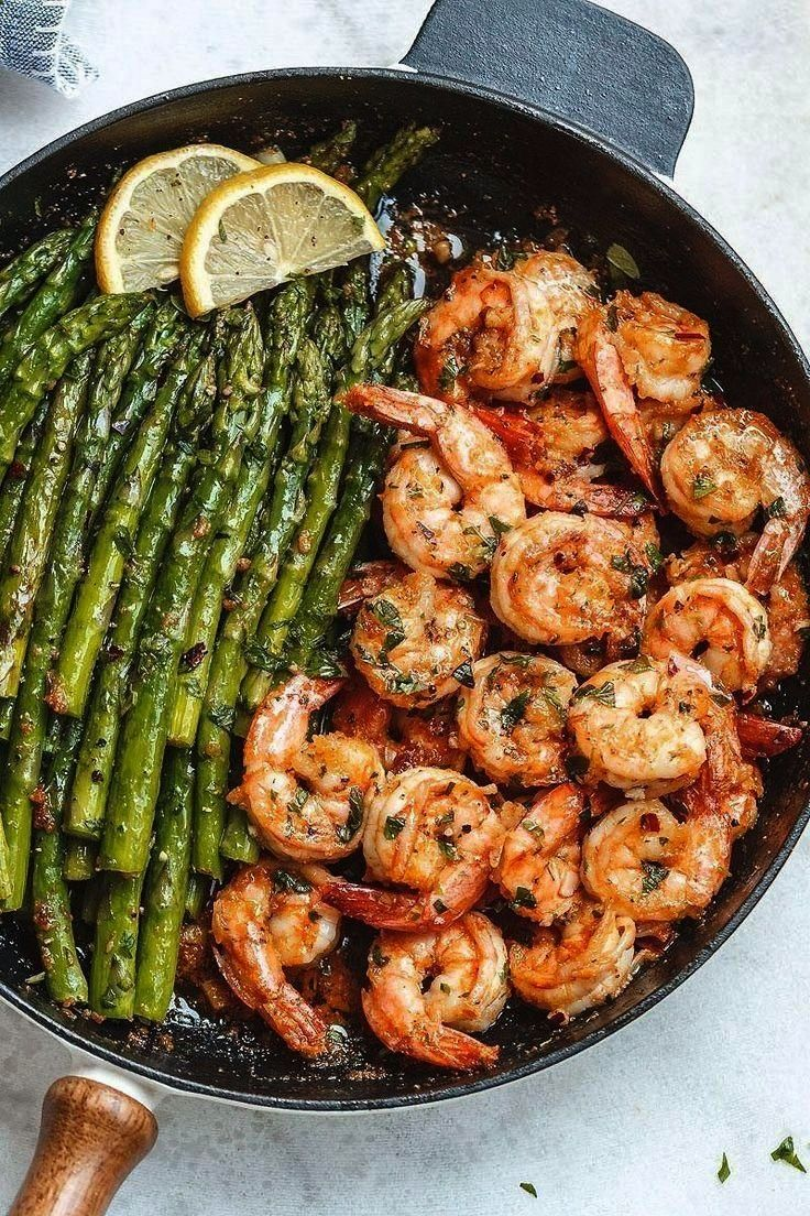 Butter Shrimp with Asparagus  - Barbecue -Garlic Butter Shrimp with Asparagus  - Barbecue -  Amazin