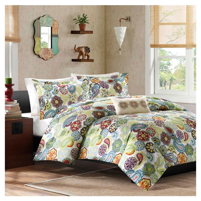 Here is a fun colorful bedroom with the Tamil Comforter Set. There is a touch of the 1960's with the Paisley design on the bedding.