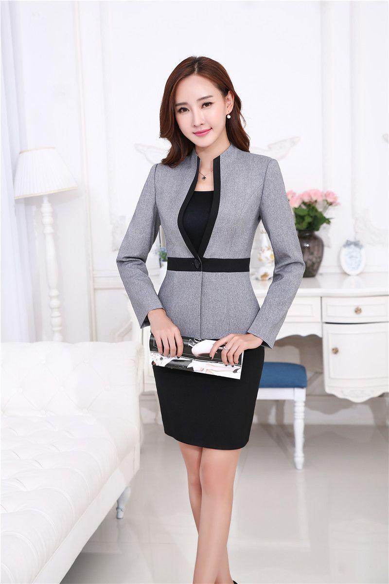 56db979abe K69A7632 New Professional Business Women Work Wear Blazers Coat Novelty  Grey Long Sleeve Autumn Winter Jackets