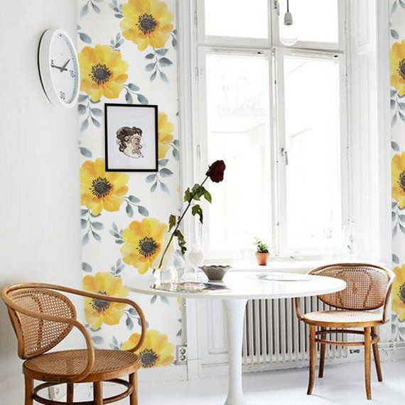 Yellow Peony Watercolor Removable Wallpaper Peel & Stick