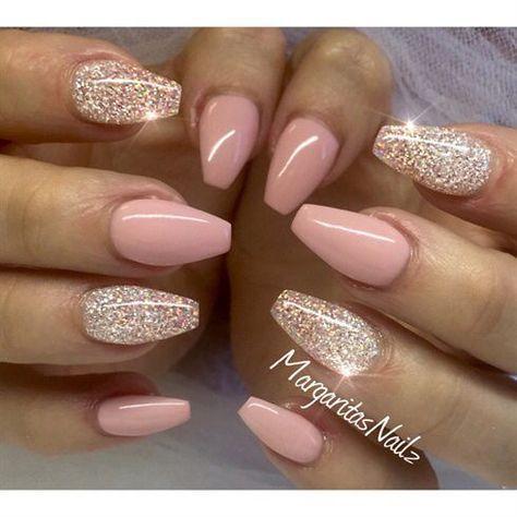 Nail ideas, pink and gold nails, acrylic nails.