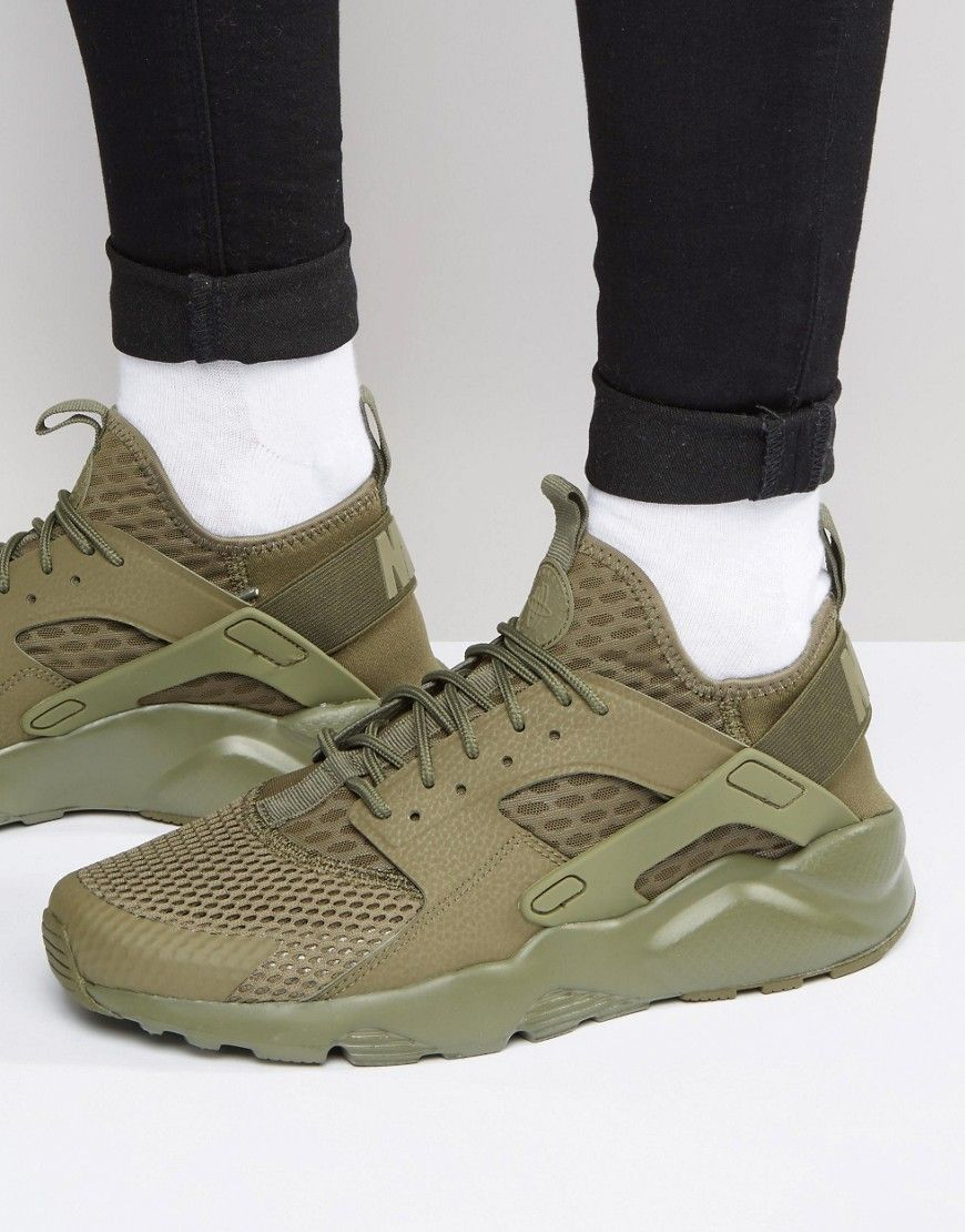 men's nike air huarache run ultra casual shoes khaki