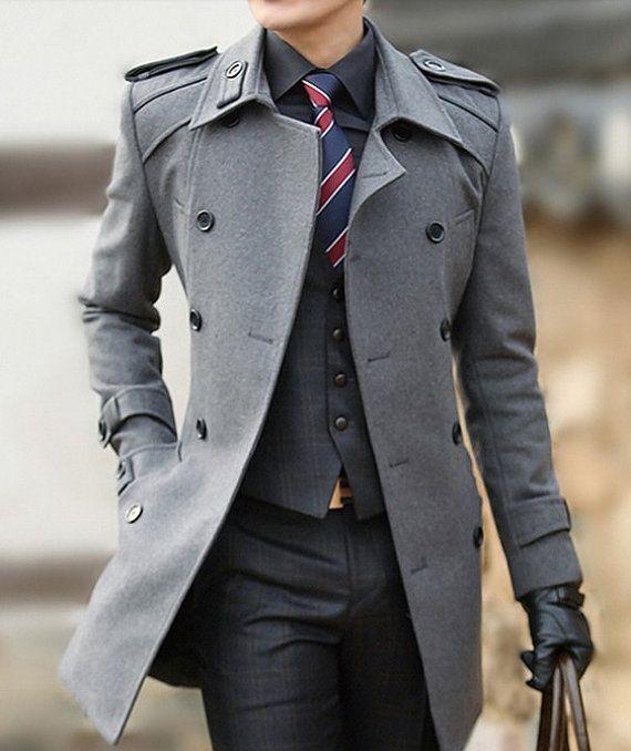 Men's Grey Overcoat, Charcoal Plaid Waistcoat, Black Dress Shirt ...