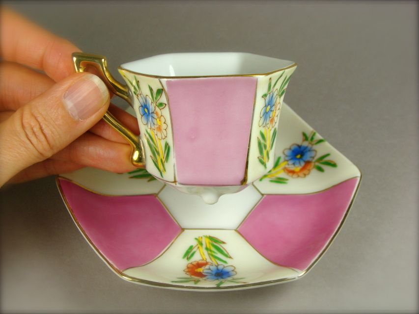Hand Painted Wales China Tiny Cup and Saucer Set from Japan - Tiny and Beautiful