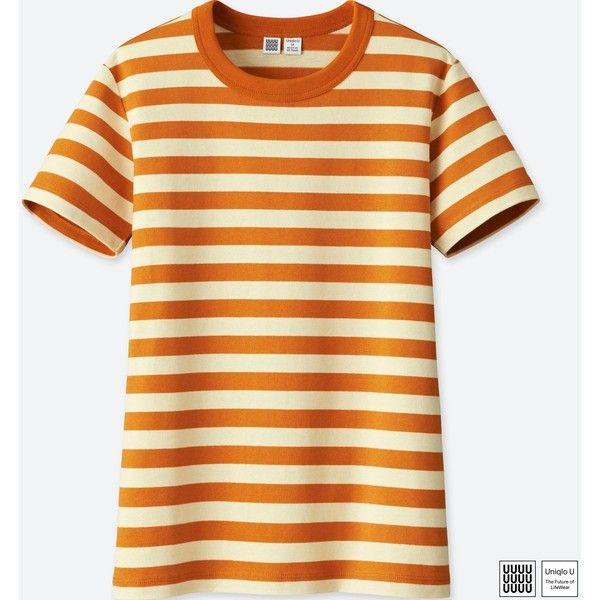 7692cfc8ee UNIQLO Women's U Striped Crewneck Short-sleeve T-Shirt ($15) ❤ liked on  Polyvore featuring tops, t-shirts, orange, stripe t shirt, striped crew  neck tee, ...