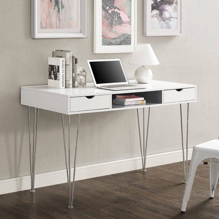 Walker Edison Modern Computer Desk With 2 Drawers White Gray Walmart Com White Desk Office Home Office Furniture Sleek Office Desk