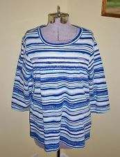 "Women's Plus Size 1X Studio Works Striped Top Shirt Blouse 44"" Bust Cotton NICE"