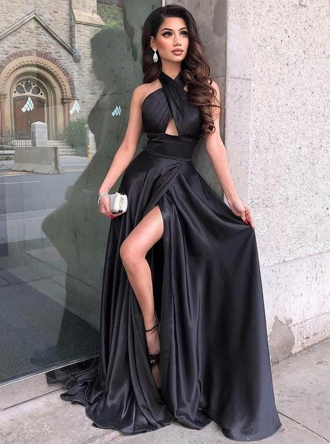 Halter Black Prom Dresses Under 100 with Slit Side