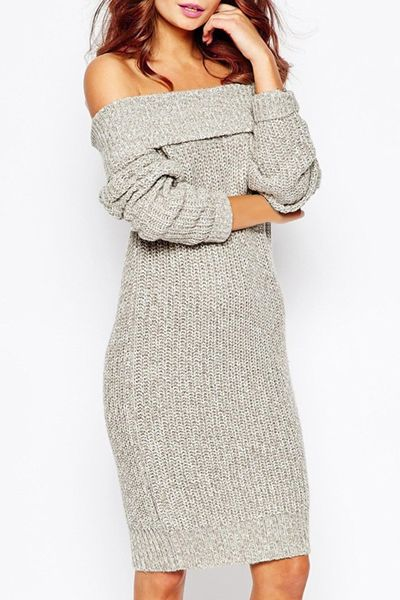 5cf2ec4458e Sexy Low-Cut Off-The-Shoulder Solid Color Long Sleeve Sweater Dress For  Women