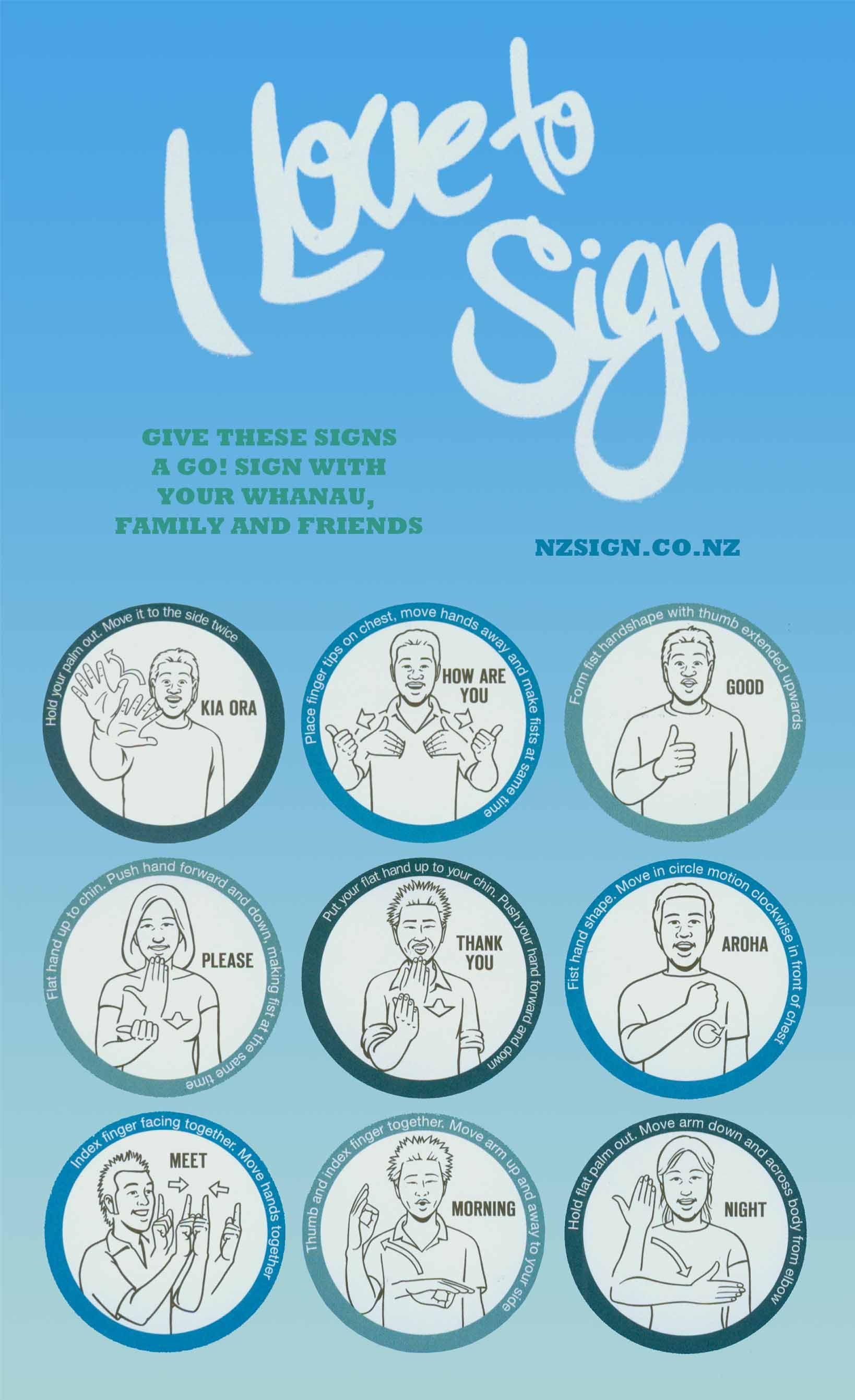 New Zealand Sign Language Colors