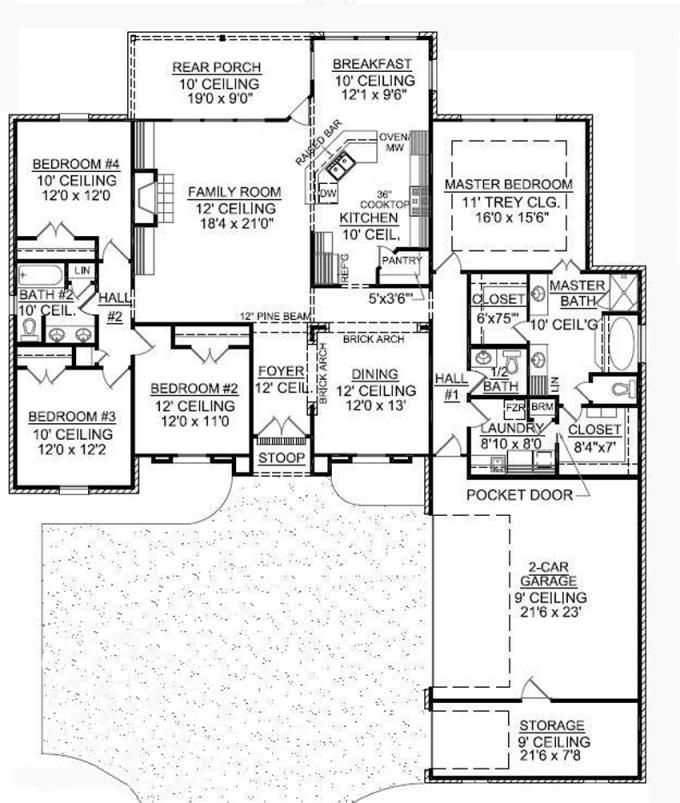 653718 1 story french country with a courtyard entry for Courtyard entry house plans