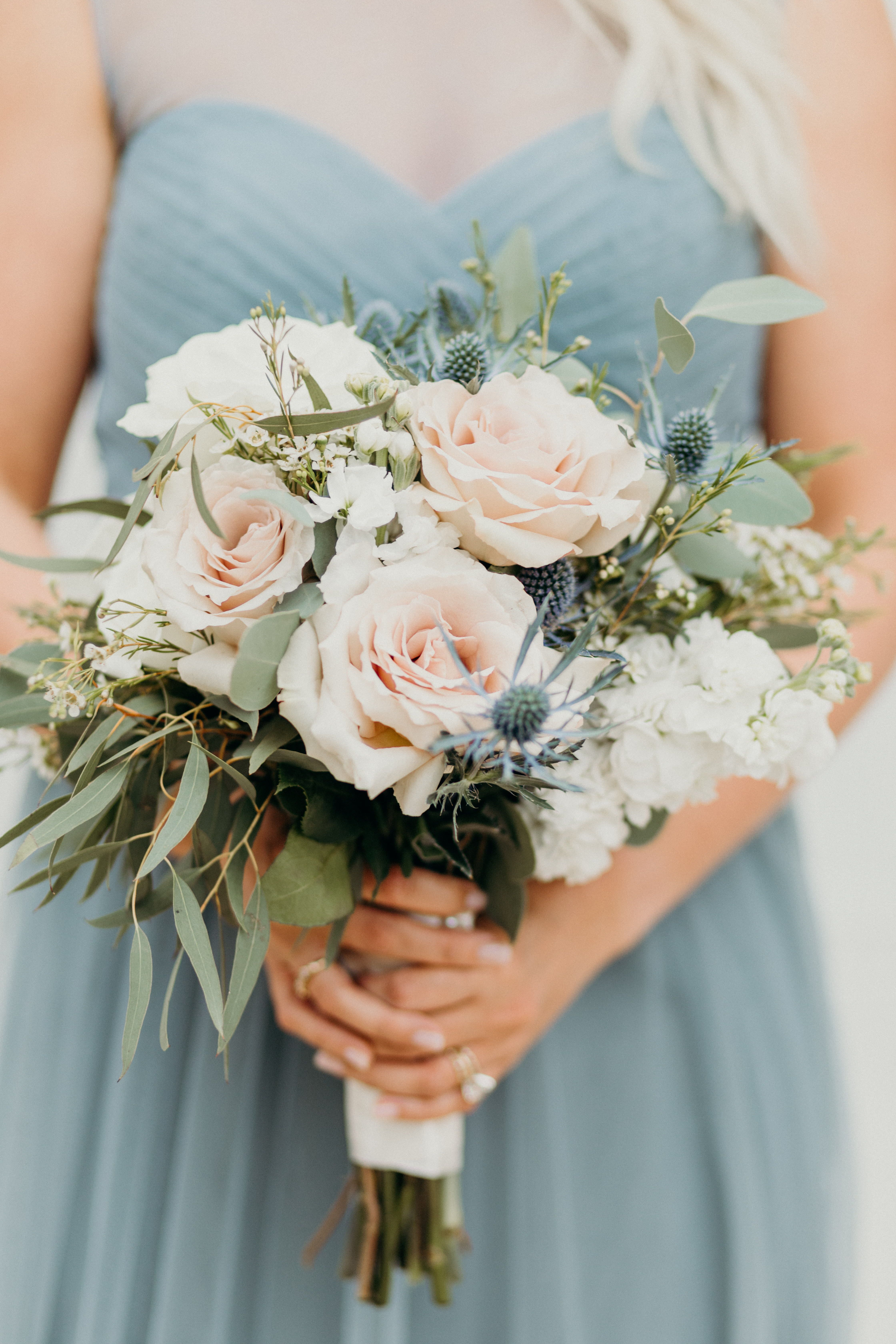 Wedding Bouquet With Roses And Eucalyptus Blue Bridesmaid Dress