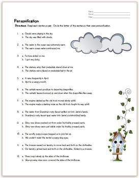 Personification Practice Page- This is a 12-question worksheet ...
