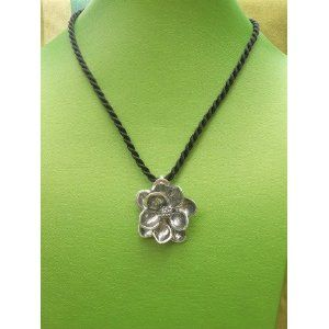 "Pewter Hand carved Magnolia Pendant cast in lead free pewter. All pendants com standard on an 18"" silver or black cord."